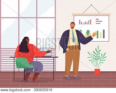 Presentation Of Business Statistics, Strategy, Businessman Analysing Graphics, Charts At Hanging Boa