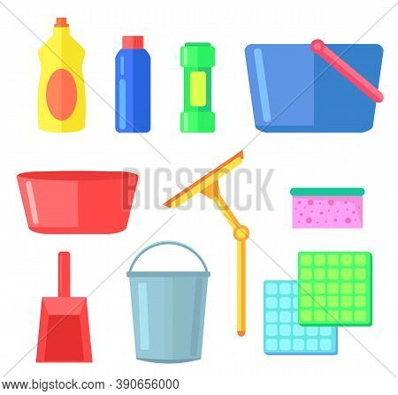 Cleaning Or Washing Tools For Home, Office, Interior, Bottles With Detergent, Cleanser, Plastic Buck