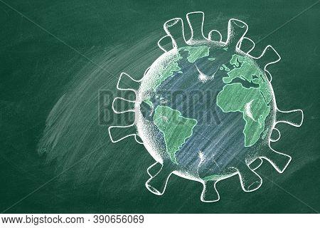 School Globe In Shape Of Coronavirus  Are Drawn With Chalk On A Blackboard. Covid-19 Concept. Back T