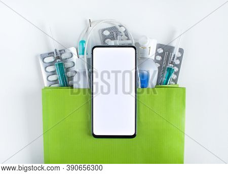 Online Pharmacy. Smartphone For Online Ordering Of Medicines. Concept Of Convenient Choice Of Medici