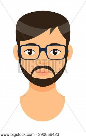 Cartoon Character In Eyeglasses. Concept Of Avatar Of Bearded Man With Bad Eyesight. Isolated At Whi