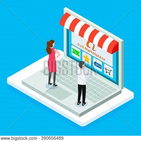 B2b Marketplace, Online Shop, Isometric 3d Laptop, Customers Man And Woman Choosing Products At Webs