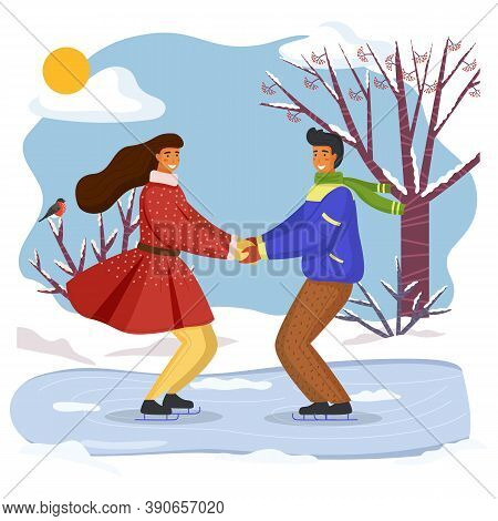 Couple Skating Together In Winter Holding Hands Looking At One Another, Snow-covered Trees And Bushe