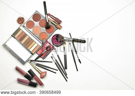 Feminine Beauty Kit On White. Collection Of Various Makeup Accessories. Professional Makeup Brushes