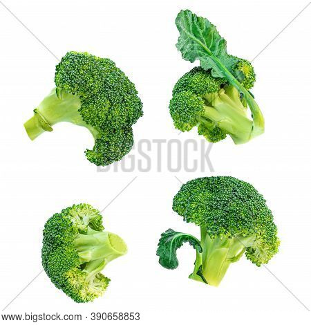Broccoli Isolated On White Background. Raw Broccoli Vegetable Collection