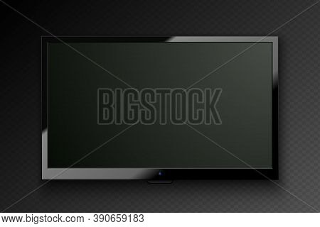 Vector Realistic Tv Led Screen Isolated On Dark Transparent Background. Modern Stylish Lcd Panel. Co
