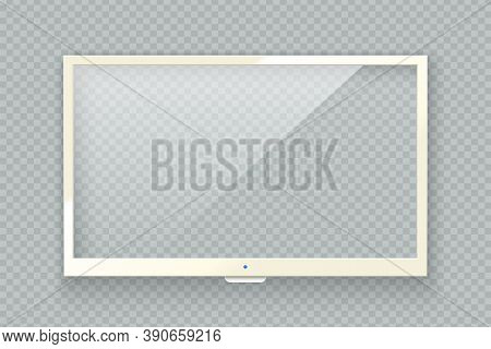 Vector Realistic White Tv Led Screen Isolated On Transparent Background. Modern Lcd Panel. Computer
