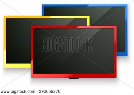 Vector Tv Led Screen Isolated Background. Red, Yellow, Blue Color Modern Stylish Lcd Panel. Computer