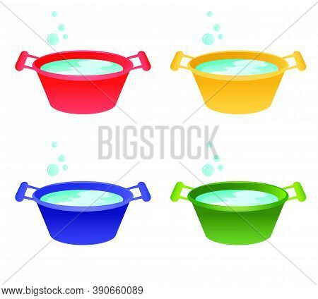 Set Of Home Plastic Basins For Washing. Collection Of Various Basins For Food And Home Cleaning. Vec