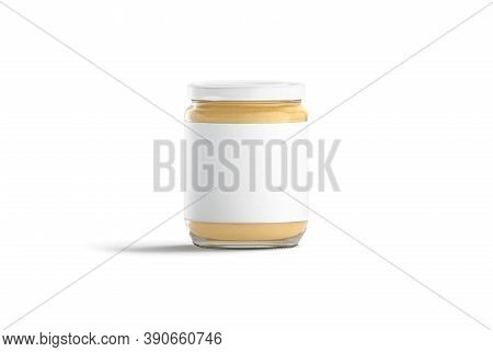 Blank Glass Jar With White Label And Peanut Butter Mockup, 3d Rendering. Empty Glas Package For Grou