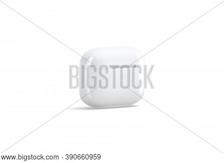 Blank White Small Closed Headphones Case Mockup Stand, Side View, 3d Rendering. Empty Electronic Hea