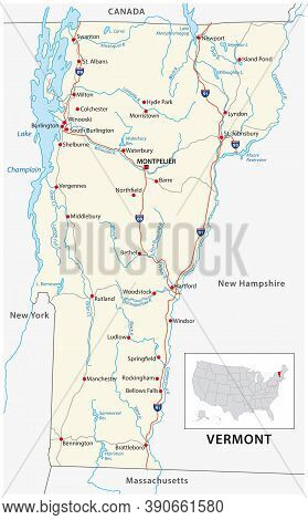 Road Map Of The Us American State Of Vermont
