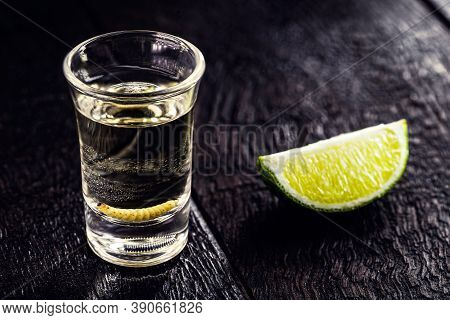 Glass With Mezcal (or Mescal) Is Commonly Known As Tequila With Larvae Or Worm, An Exotic Mexican Dr