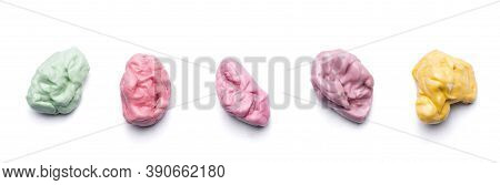 Pink Green Red Yellow Collection Of Chewed Bubble Gum Isolated On White Background