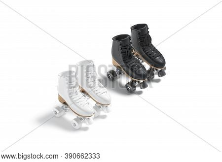 Blank Black And White Roller Skates With Wheels Mockup Pair, 3d Rendering. Empty Rollerskates Shoela