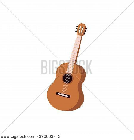 Classic Acoustic Wooden Guitar With Strings A Vector Isolated Illustration
