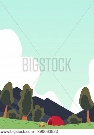 Campsite In Mountains Landscape Background, Flat Cartoon Vector Illustration.
