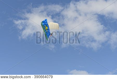 May 9, 2018: Paratrooper With The Banner Of The Russian Airborne Forces. Cheboksary. Russia.