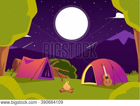 Background With Starry Tents In Mountain Camping Flat Vector Illustration.