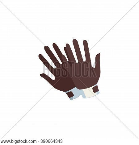 Pair Of Gloves For Equestrian Sport Cartoon Flat Vector Illustration Isolated.