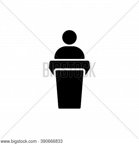 Public Speaker Icon In Black. Orator Sign. Vector On Isolated White Background. Eps 10