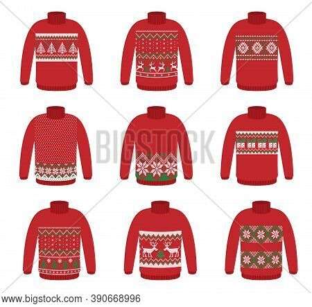 Vector Ugly Set Sweaters For Christmas Party. Knitted Jumpers With Winter Patterns