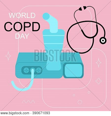World Copd Day.chronic Obstructive Pulmonary Disease Concept.nebulizer Or Inhaler Against A Bronchia
