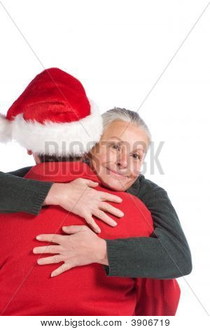 Woman Hugging Santa