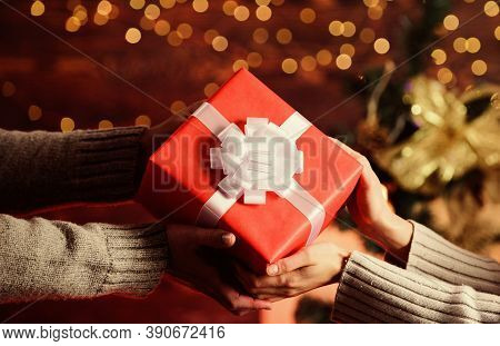 What Is Inside. Gift With Love. Man Give Woman Box. Family Values. Loving Each Other. Hands Of Coupl