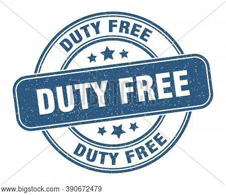 Duty Free Stamp. Duty Free Label. Round Grunge Sign