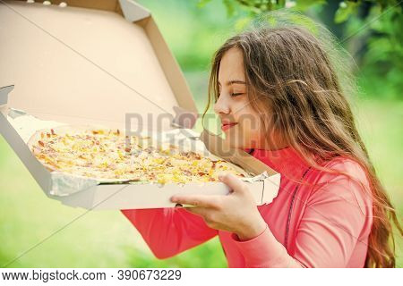 Who Cares About Diet. Her Favorite Food. Junk Food Concept. Happy Child Hold Big Pizza. Meal Deliver