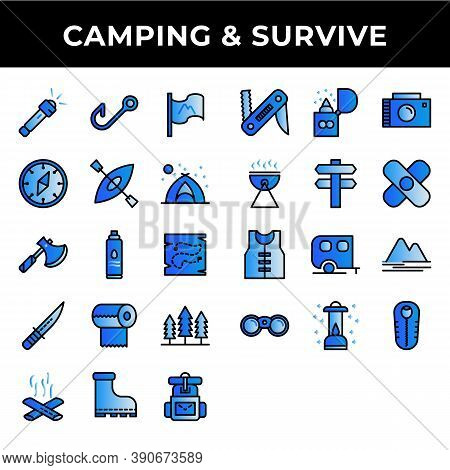 Camping And Survive Icon Set Include Flashlight,fishing,flag,compass,kayak,tent,bottle,knife,tissue,
