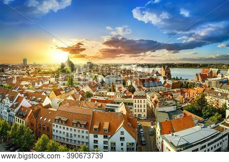 Panoramic View At The City Center Of Rostock While Sunset, Germany