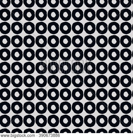 Seamless Geometric Pattern With Hand Drawn Uneven Black Rings On Gray Background For Surface Design
