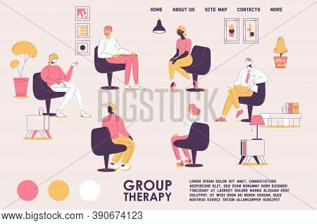 Group Therapy Landing Page Template. Various People Consulting With Psychologist Sitting In Circle.