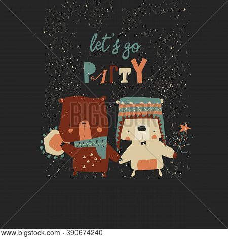 Cartoon Polar Bear With His Friend Brown Bear Going To The Party