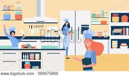 Professional Chefs Cooking At Restaurant Kitchen Flat Vector Illustration. Happy Cartoon Cooks Prepa