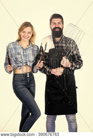 Picnic And Barbecue. Man Bearded Hipster And Girl Ready For Barbecue White Background. Summertime Le