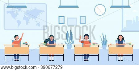 Happy Pupils Studying In Classroom Isolated Flat Vector Illustration. Cartoon Children Characters Si