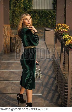 Velvet Fashion Trend. Silk Velvet. Glamour Velvet Textile. Sexy Woman Outdoors. Modern Life. Girl Ca