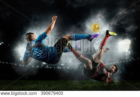 Two soccer player man in action on dark arena background