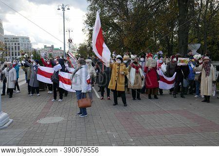 Minsk, Belarus - October 19, 2020. Peaceful Protest, Old Women. Peaceful Protest Against Dictator Lu