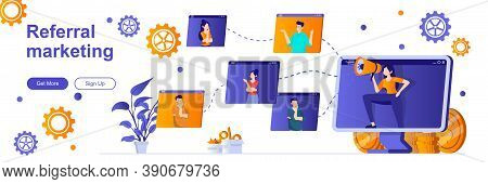 Referral Marketing Landing Page With People Characters. Customer Referral Program Banner. Promoting