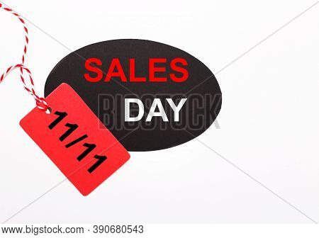 Online Shopping Of China, 11.11 Single Day Sale Concept. Red And Black Ticket 11.11 Single Day Sale