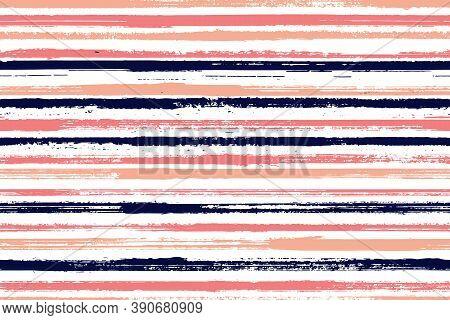 Ink Freehand Irregular Stripes Vector Seamless Pattern. Pretty Decorative Wallpaper Design. Retro Te