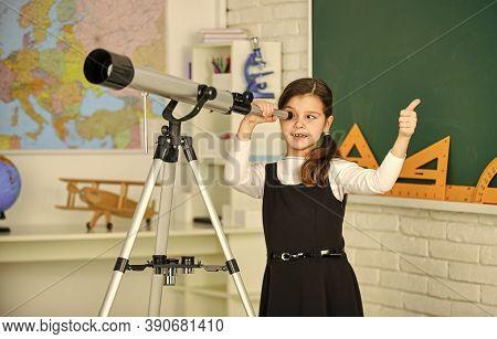 Teachers Day. Little Girl Using Telescope. Telescope On Tripod. School Subjects Set. School Astronom