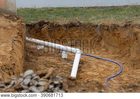Installation Underground Storm Sewer Pipes Of Water Main And Sanitary Sewer Ground Work