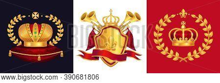 Royal Gold Crown Heraldry Trumpets Shield Emblem Monarchy Regal Symbols Attributes Concept 3 Realist