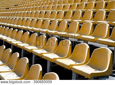 Concept Of Fans. Chairs For Audience. Cultural Environment Concept. Color And Symmetry. Empty Seats.