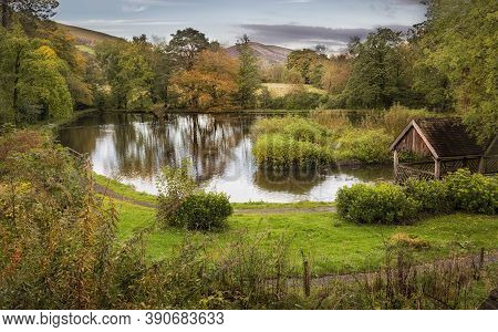 The Main Lake At Craig Y Nos Country Park In The Swansea Valley, South Wales Uk